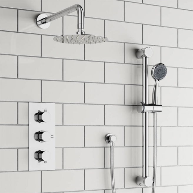 Orla Concealed Shower Valve, Fixed Head & Slide Rail Kit